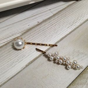 Faux pearl gold hair barrettes - Set of 2